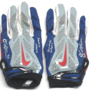 Orleans Darkwa 2017 Game Used & Signed New York Giants Team Logo Nike Vapor Jet Gloves