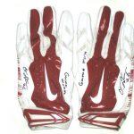 Orleans Darkwa New York Giants Game Used & Signed Red & White Nike Vapor Jet Gloves