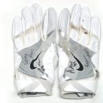 Andrew Adams 2017 New York Giants Game Used & Signed White & Silver Nike Gloves - Great Use!!