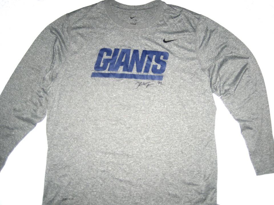 Kerry Wynn Training Worn   Signed New York Giants Long Sleeve Nike Shirt d544f9995