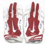 Orleans Darkwa 2017 New York Giants Game Used & Signed Red & White Nike Vapor Jet Gloves