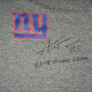 Alex Tanney 2018 Game Worn & Signed Official Gray New York Giants Nike Dri-Fit Large Sleeveless