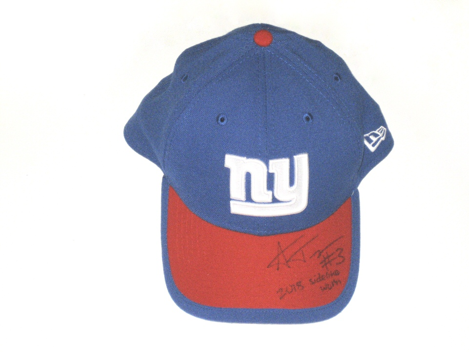 best sneakers e7cf6 07ae1 ... best price alex tanney 2018 sideline worn signed official blue red new  york giants new era