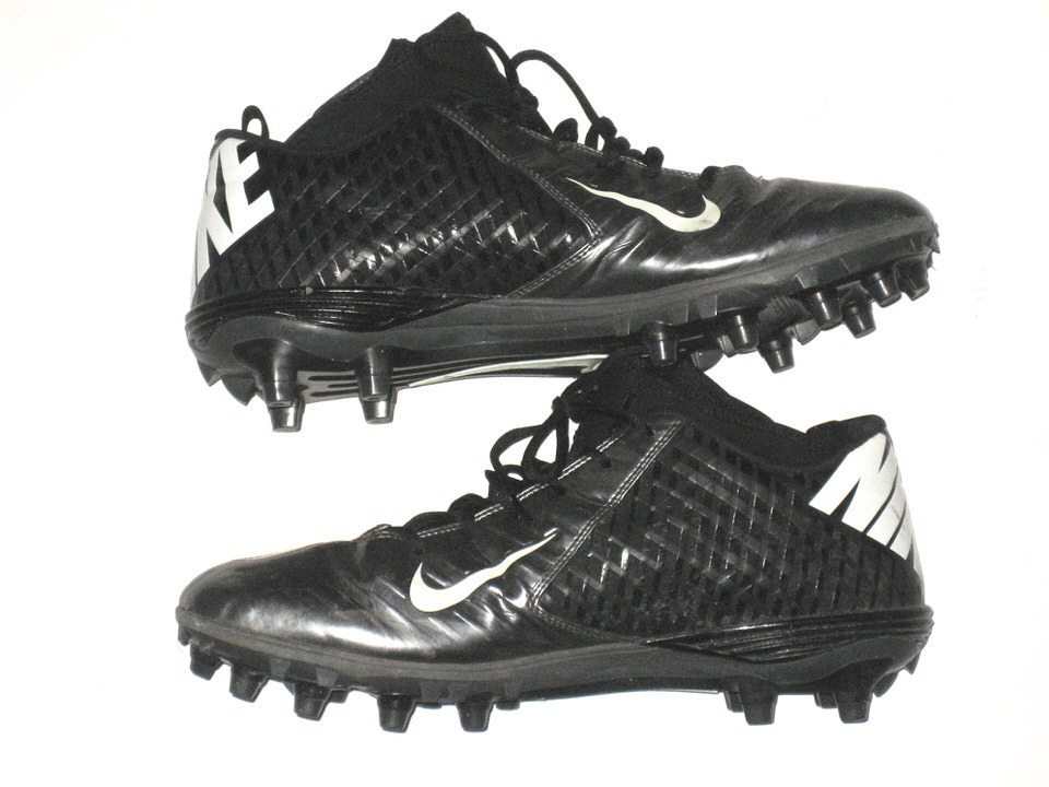 22aca510b ... Cleats Garrett McIntyre New York Jets Game Worn   Signed Black   Silver  Nike Superbad Pro ...