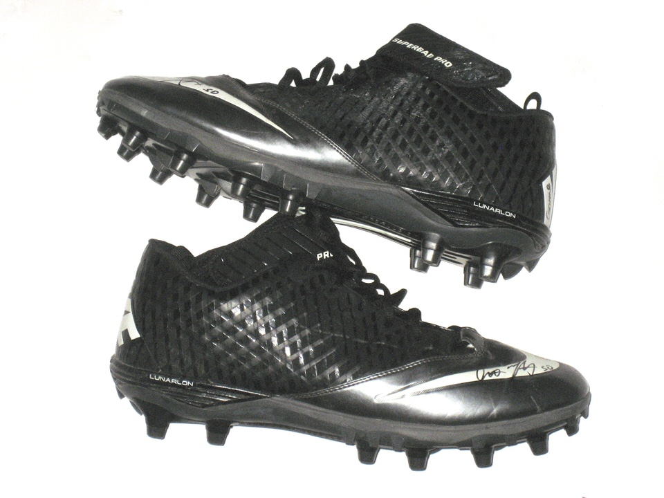2f2999798 Garrett McIntyre New York Jets Game Worn   Signed Black   Silver Nike  Superbad Pro Cleats - Big Dawg Possessions