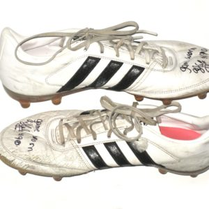 AJ Cole NC State Wolfpack Game Worn & Signed White & Black Adidas Gloro Cleats