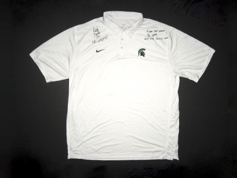fcd8eec54 David Beedle Signed Official White Michigan State Spartans Nike Dri-Fit Polo  XXL Shirt – Worn Game Day, Several Inscriptions! $39.99. Quantity. Add to  cart