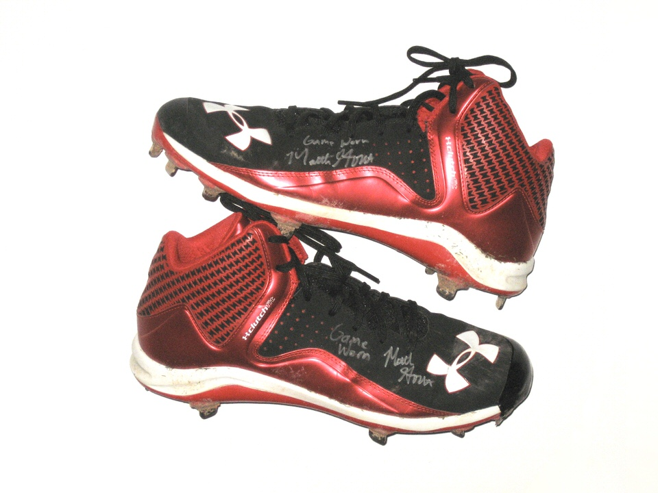 1bd8abeb487f Matthew Gorst Pawtucket Red Sox Game Worn & Signed Black & Red Under Armour  Cleats