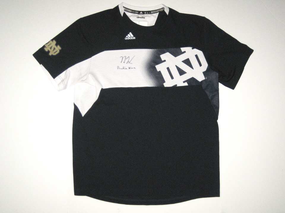 Nic Weishar Practice Worn & Signed Official Notre Dame Fighting Irish #18 Adidas Climalite XL Shirt