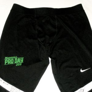 Ryan Bee 2019 Pro Day Worn & Signed Official Black & White Marshall Thundering Herd Nike Dri-Fit Pants