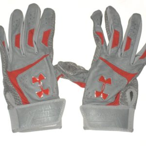 TJ Friedl 2019 Chattanooga Lookouts Game Worn & Signed Gray & Red Under Armour Gloves