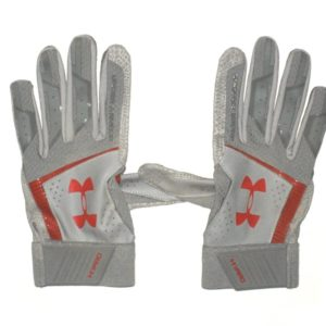 TJ Friedl 2019 Chattanooga Lookouts Game Worn & Signed Gray & Red Under Armour Yard Gloves