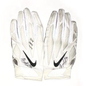 Henry Anderson New York Jets 2019 Game Worn & Signed White, Black & Gray Nike Alpha Gloves
