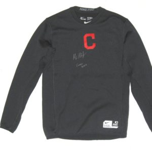 Max Moroff 2019 Game Worn & Signed Official Cleveland Indians #26 Long Sleeve Nike Pro Dri-Fit Shirt