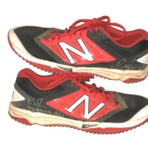 Packy Naughton 2019 Chattanooga Lookouts Training Worn & Signed Red & Black New Balance Shoes